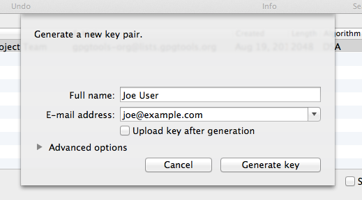 Explanation: Create a new keypair